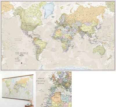 New Large Giant Wall Print Huge Classic World Map Laminated Encapsulated School