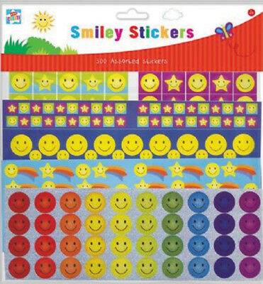 300 Smiley Sticker many Colours Kindergarten School Reward Stamp Sticker
