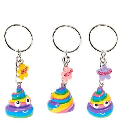 Rainbow Poop Emoticon Best Friends Keychain Set of 3 Keychains BFF Key Chain NWT