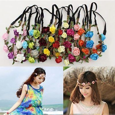1X Rose Flower Wreath Crown Head Chain Jewelry Hollow Elastic Hair Band Headband