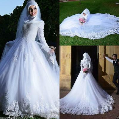 Arabic White Muslim Lace Wedding Dress Court Train A Line Bridal Gown With Hijab