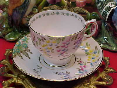 Tuscan Pink with Flowers Bone China Tea Cup & Saucer England
