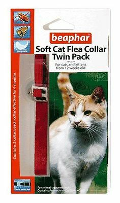 Beaphar Twin Pack Soft Velvet Cat Kitten Flea Collar 8 Months Protect