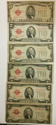 1928 B.series $5 Dollar Red Seal Note Bill, Also $2 1928 F & $2 1928 D Lot of 6.