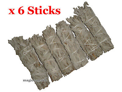 "Smudge Stick California White Sage - Mini 4"" (10-12cm) - BULK PACK of 6 Sticks"