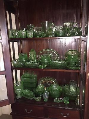 VINTAGE GREEN DEPRESSION glass collection