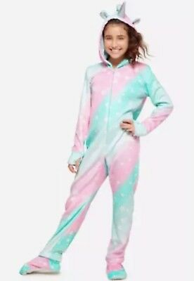 Justice Girls UNICORN Fleece One Piece Hooded Footed Pajamas Size 16/18 PJ's NWT