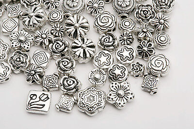 45g (about 80pcs) Mixed Tibet Silver Flower Beads Spacer For Bracelet Jewelrynew