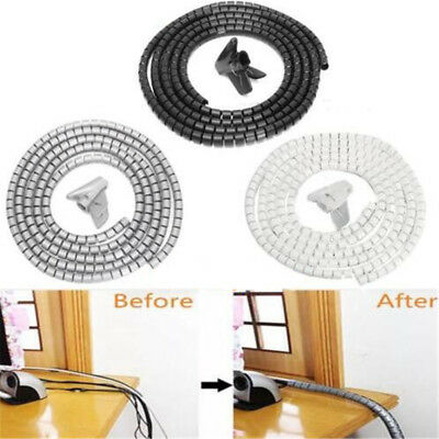 3m Spiral Wrap Cable Tidy Wire PC TV Binding Organising Office Home With Clip