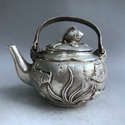 Chinese ancient copper hand-carved fish teapot delicate design