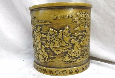 Fine brass Brush Pot China carved seven sages of the bamboo grove copper Statue