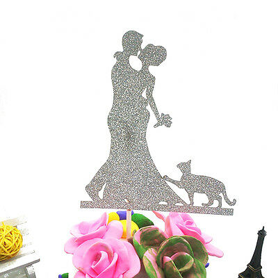 2Pcs Bride and Groom with Pet Cat Cake Topper Wedding Cake Topper Decoration