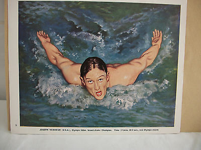 Joseph Verdeur [USA]  1948 Olympic 200m Breast-stroke Champion Bookplate