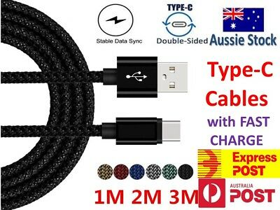 Samsung Galaxy S10 S9 S8 Plus Note 9 8 Braided USB-C Type-C Sync & Charge Cable