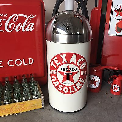 "Texaco Gasoline Trash Can SS Top Very Nice 29"" Tall 12 Gal."
