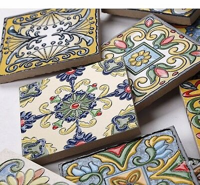 1 Random colorful Wall Ceramic Mediterranean Tile Monaco design Cafe Decor 98mm