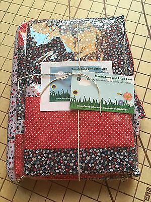 Bugaboo Cameleon carrycot bassinet fitted sheets x2 & Blanket Red Patch Flowers