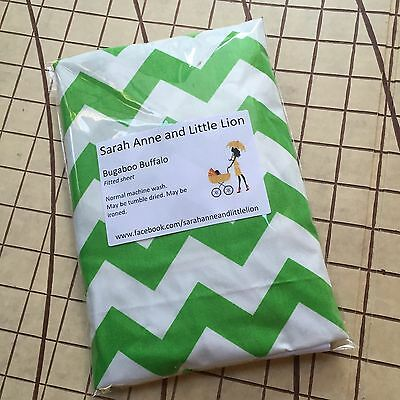 Bugaboo Buffalo fitted sheet for carrycot bassinet Green Chevron
