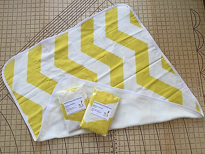 Bugaboo Cameleon carrycot bassinet fitted sheets x2 & Blanket Yellow Chevron