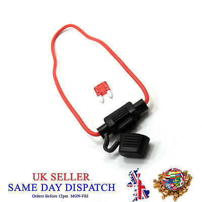 Blade Mini Fuse with Waterproof Inline Fuse Holder 12V Car Boat Bike