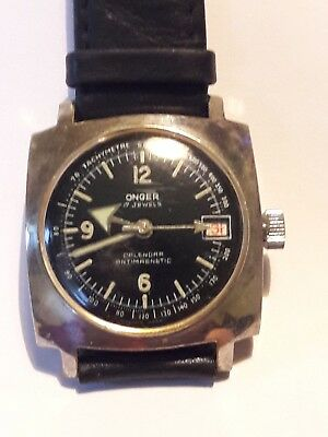 Vintage  watch ONGER, date, 17 jewels,  military, Swiss made