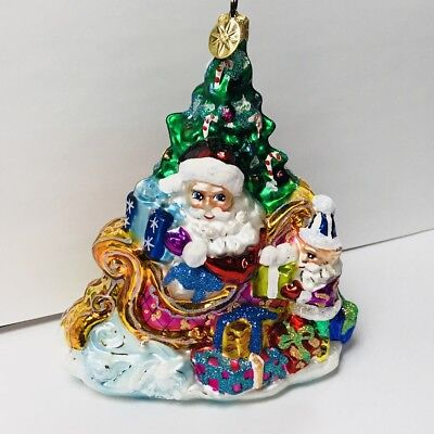 Legacy Christopher Radko Santa & Sleigh Glass Christmas Ornament Made in Poland