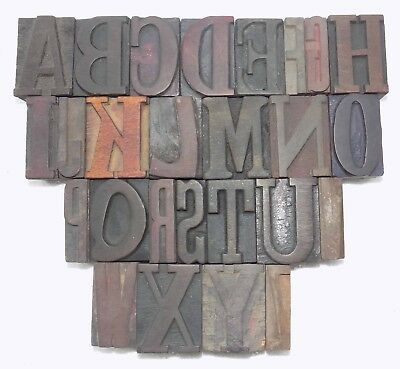 """""""A to Z"""" Letterpress Letter Wood Type Printers Block collection.vb-747"""