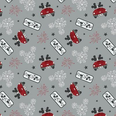 Disney Fabric - Mickey & Minnie Mouse - Fireworks of Love - Grey - 100% Cotton