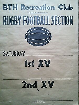 Rare original 1950s Rugby union fixture poster - BTH Works Rugby Football - Gift