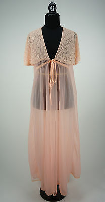 Vintage 1960s Peach Sheer Lace Sleeveless Double Layer Peignoir Size M