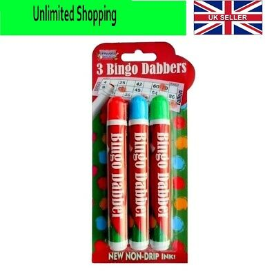 Pack of 3 Novelty Bingo Dabbers Marker Pens Assorted Colours Non Drip Ink