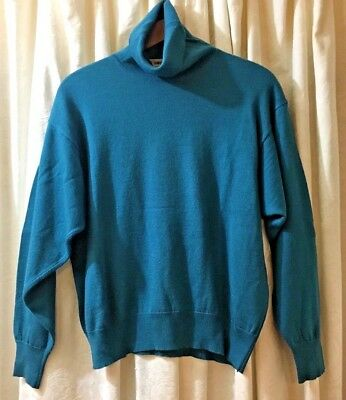 Vintage & Beautiful Green/Blue Rodier Wool Turtleneck. Made in France