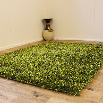 Modern Shiny 3Cm Thick Pile Lime Green Shimmer Shaggy Elegant Rug On Clearance