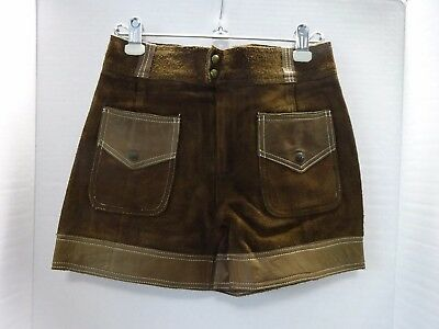 Vintage Zig-Zag Brown Suede & Leather Shorts Junior 11/12 (?)  **FREE SHIPPING**
