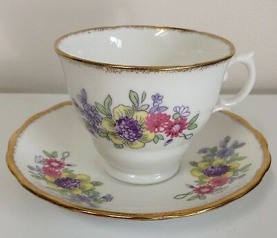Vintage Royal Malvern English Tea Cup and Saucer Floral Yellow Pink Blue Purple