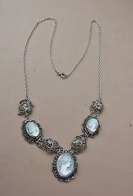 Carved Mother-of-Pearl 3 Cameo Necklace Silverplate Filigree Vintage Handcrafted