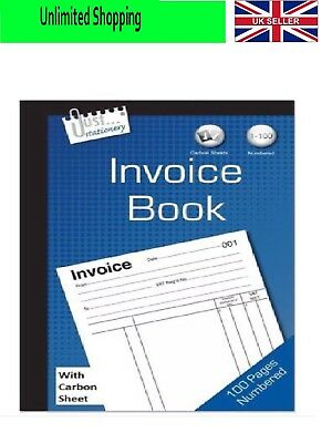 NEW Full Size A5 Invoice Duplicate Receipt Book Numbered Cash 1 - 80 Pages Pad