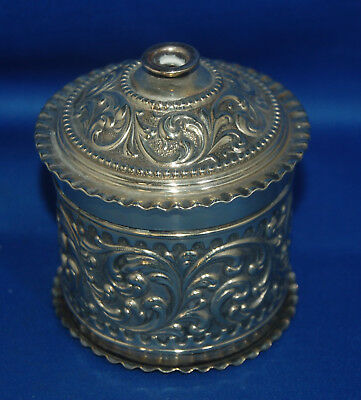 A Victorian silver plated desktop, shop, Victorian string holder tin, box