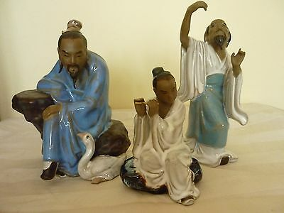 Chinese Mud Men Figures x 3   Group
