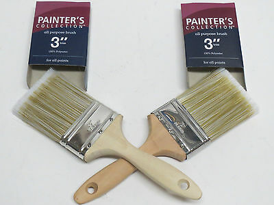 """Set of 2 Painter's collection 3"""" trim all purpose paint brushes;Brand NEW Unused"""