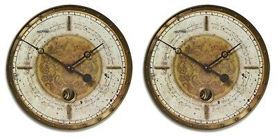 "Two Large 18"" Weathered Brass Gold White Round Pendulum Wall Clock Vintage Style"
