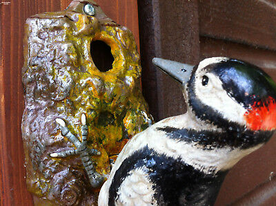 Door Knocker Woodpecker Cast Iron Hand Painted Decoration Garden Spotted