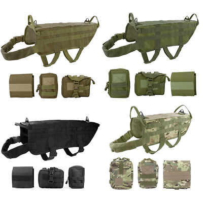 Tactical Dog Hunting Training K9 Molle Vest Harness OR 3 Detachable Pouch Bag