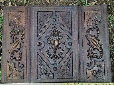 1800  Antique Set Of 3 Wood Wall Panels Neoclassical Acanthus Pomegranate