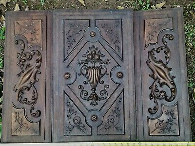1800's   ANTIQUE WOOD PEDIMENT  CORNICE ACANTHUS SCROLL OAK WOOD