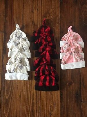 Newborn Infant Baby Hat / Cap Hospital Layette, Bucks, Buffalo Plaid, Floral NEW