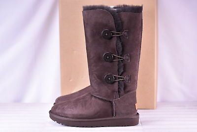 {1016227-CHO} WOMEN'S UGG AUSTRALIA BAILEY BUTTON TRIPLET ll BOOTS CHOCOLATE NEW