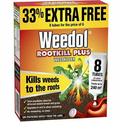 Weedol ROOTKILL Plus WEEDKILLER 8 Tubes of Liquid Concentrate WEED ROOTS KILLER