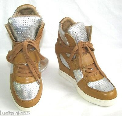 Ash - Sneakers Wedge Shoes Sneakers Leather Camel & Silver 37 - New & Box