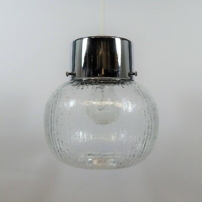 Vintage Glass and Chrome Lampshade 60's 70's Retro Light Lamp Shade